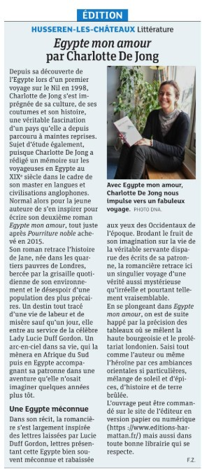 Article dna Egypte on amour Charlotte de Jong title=